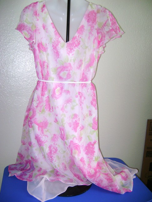 Pink/White Maxi Dress by Dress Barn Size 10 Party Image 1