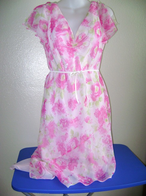 Pink/White Maxi Dress by Dress Barn Size 10 Party Image 2