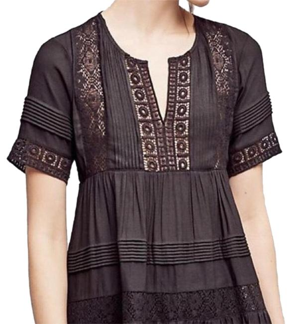 Preload https://img-static.tradesy.com/item/24314765/anthropologie-black-tiered-lace-tunic-blouse-size-4-s-0-3-650-650.jpg