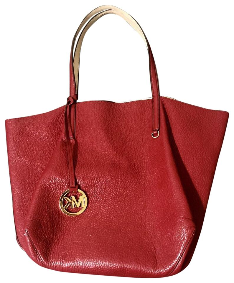 9f2a3ae653b1 Michael Kors Izzy Reversible Large Burgundy Red / Nude Pink Leather ...