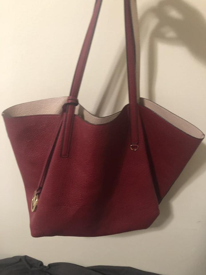 89f802f14a9d Michael Kors Izzy Reversible Large Burgundy Red / Nude Pink Leather ...
