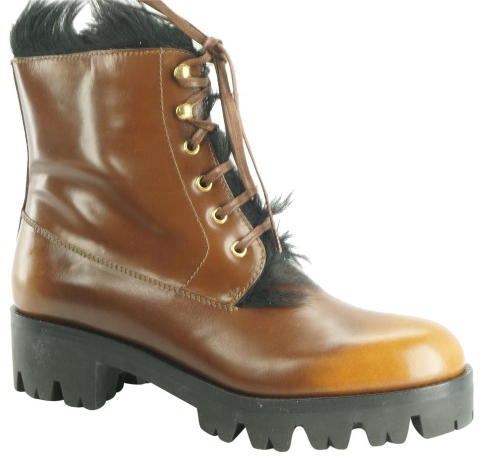 7b5268e561e1 Prada Brown Leather Fur Lined Lace Up Combat Army Ankle Boots Booties. Size   EU ...