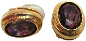 Other Catherine Prevost Gold Plated Clip Earrings Amethyst Glass Crystal