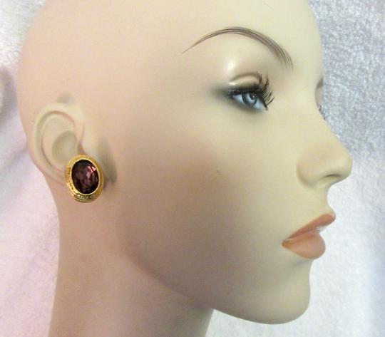 Other Catherine Prevost Gold Plated Clip Earrings Amethyst Glass Crystal Image 1