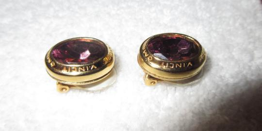 Other Catherine Prevost Gold Plated Clip Earrings Amethyst Glass Crystal Image 3