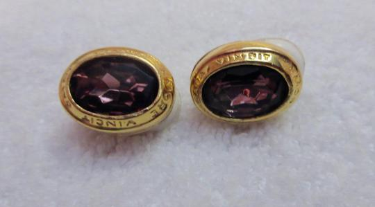 Other Catherine Prevost Gold Plated Clip Earrings Amethyst Glass Crystal Image 5
