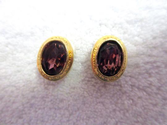 Other Catherine Prevost Gold Plated Clip Earrings Amethyst Glass Crystal Image 6