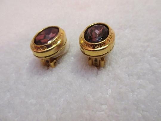 Other Catherine Prevost Gold Plated Clip Earrings Amethyst Glass Crystal Image 8