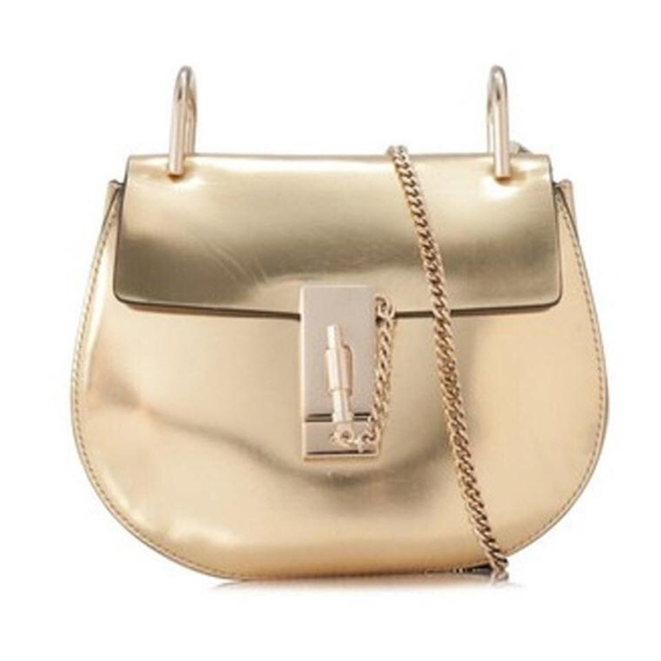 d1400262dd Chloé Shoulder Drew Mini Chain Gold Leather Cross Body Bag 45% off retail
