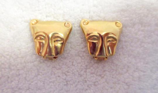 Other MMA NY Museum Clip Earrings Ancient Cat Leopard Jaguar Head Image 4