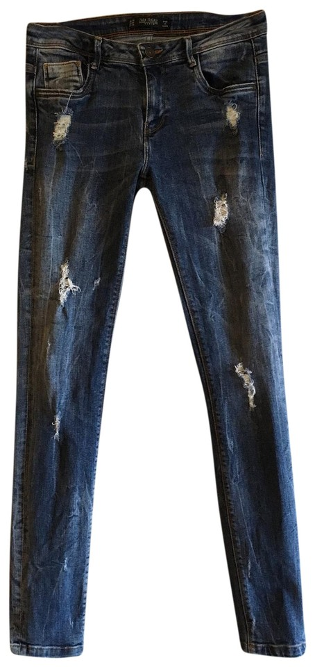 4f0f9827 Zara Dark Wash Distressed Trafaluc Stretch Ripped Denim Skinny Jeans ...