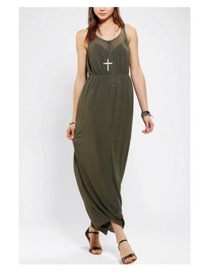 2484cfa065e Urban Outfitters Green Sparkle   Fade Chiffon Button Front Long ...