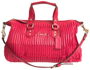 Coach Purse Handbag Shoulder Tote Pleated Satchel in Red Gold