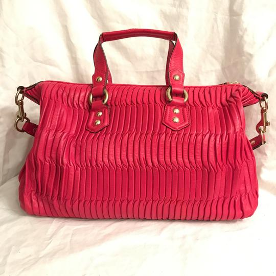 Coach Purse Handbag Shoulder Tote Pleated Satchel in Red Gold Image 1