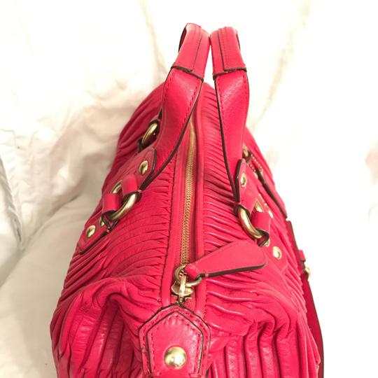Coach Purse Handbag Shoulder Tote Pleated Satchel in Red Gold Image 2