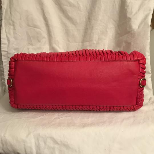 Coach Purse Handbag Shoulder Tote Pleated Satchel in Red Gold Image 5