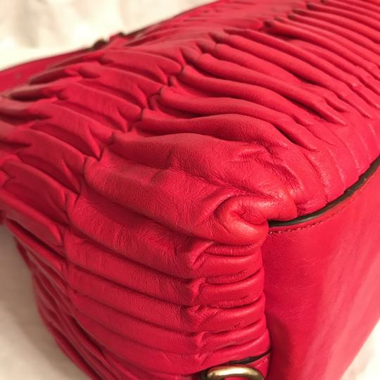 Coach Purse Handbag Shoulder Tote Pleated Satchel in Red Gold Image 7