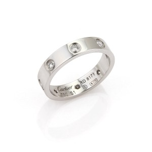 Cartier Cartier Mini Love 8 Diamond 18k White Gold Band Ring