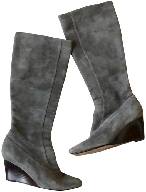 Item - Grey To The Knee Boots/Booties Size US 8 Regular (M, B)