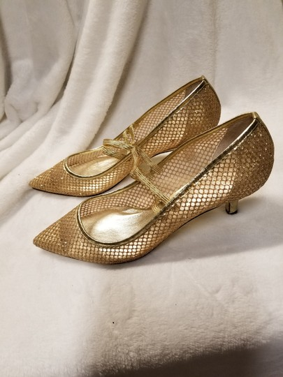 Adrianna Papell Gold Mesh Pumps Size US 7.5 Regular (M, B) Image 1