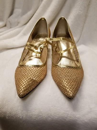 Adrianna Papell Gold Mesh Pumps Size US 7.5 Regular (M, B) Image 2