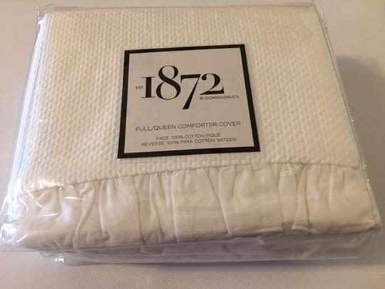 Bloomingdale's White 1872 Pique Duvet Comforter Cover Full / Queen Other Image 2