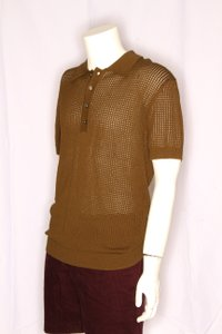 Green Olive Weave Mesh Cotton Knit Alessandro Polo M1760 Shirt