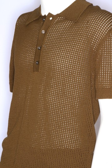 Green Olive Weave Mesh Cotton Knit Alessandro Polo M1760 Shirt Image 1