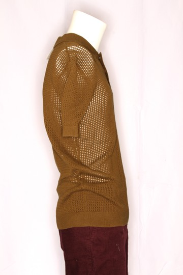 Green Olive Weave Mesh Cotton Knit Alessandro Polo M1760 Shirt Image 3