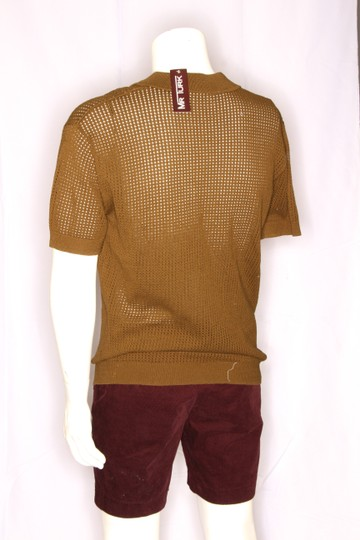 Green Olive Weave Mesh Cotton Knit Alessandro Polo M1760 Shirt Image 4