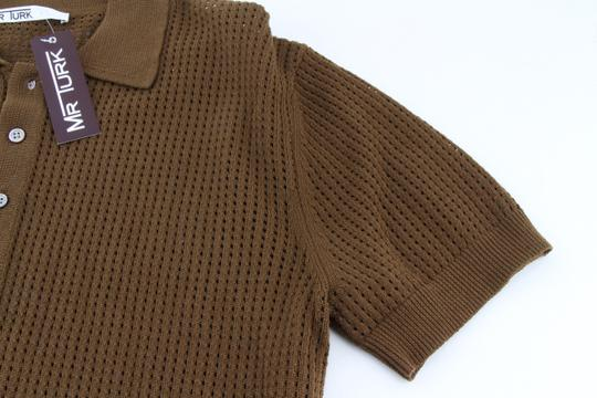 Green Olive Weave Mesh Cotton Knit Alessandro Polo M1760 Shirt Image 8