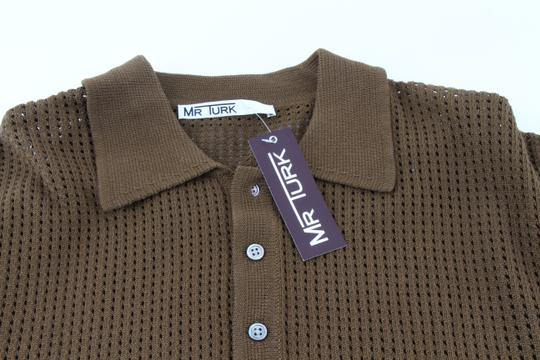 Green Olive Weave Mesh Cotton Knit Alessandro Polo M1760 Shirt Image 9