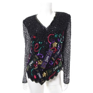 Laurence Kazar Beaded Sequin New Years Party Top Black