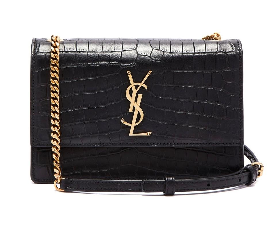 Saint Laurent Monogram Sunset Medium Croc Embossed Black Leather Shoulder  Bag 18% off retail b7790f78d2238