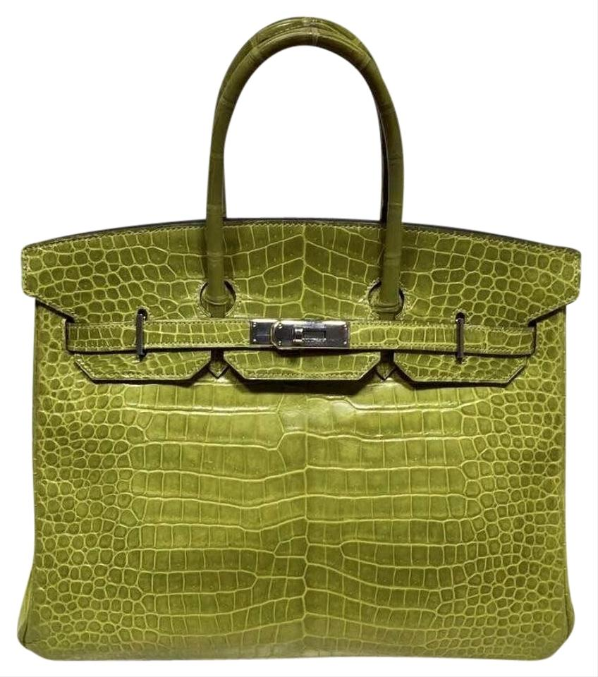 0e6c781170ae Hermès Porosus Crocodile Full Set Crocodile Birkin Satchel in K6  Granny Green .