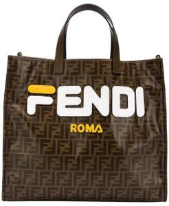 Fendi Fila Zucca Leather Tote in Brown