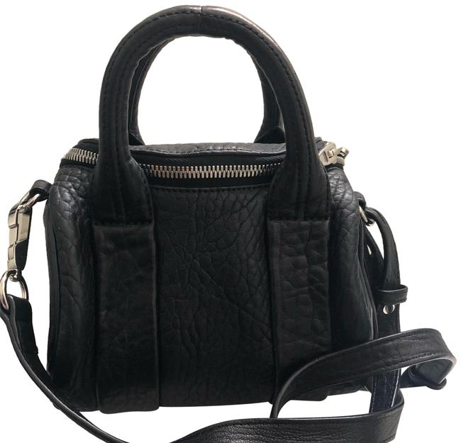 Item - Pebbled with Silver Hardware Black Lambskin Leather Cross Body Bag