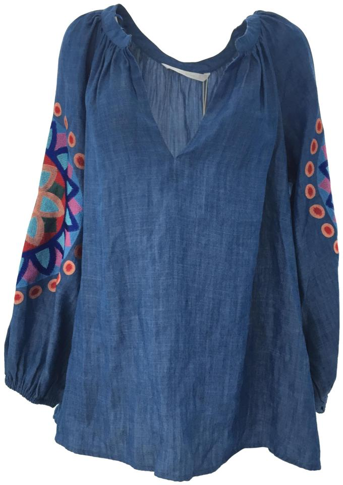 8efb250621665a Zara Blue Embroidered Chambray Peasant Blouse Size 6 (S) - Tradesy