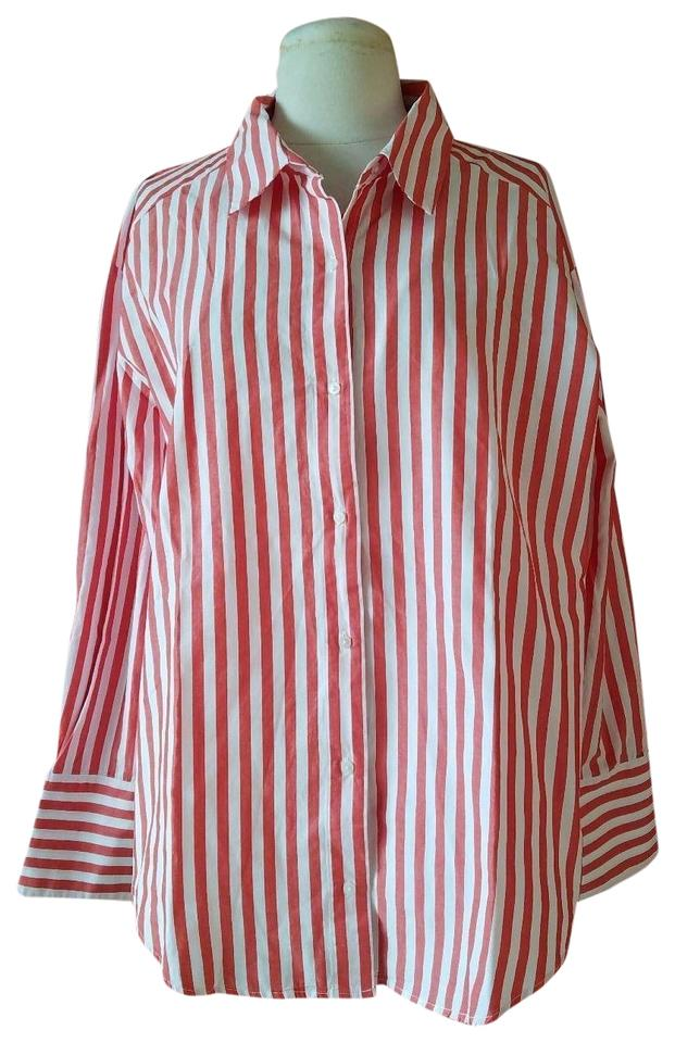 fffe7c52ab Zara Red and White New Multi-position Striped Career Shirt Blouse ...
