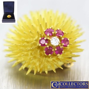 Tiffany & Co. Vintage Estate Tiffany & Co 14k Gold Sea Urchin Diamond Brooch Pin