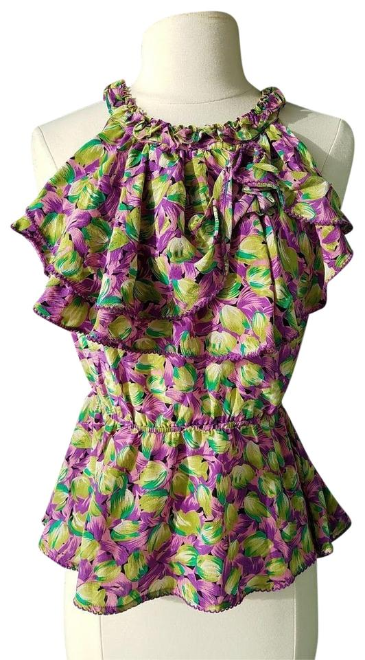 cce985068bc8df Odille Purple Anthropologie Pink Silk Tropical Blouse Size 0 (XS ...