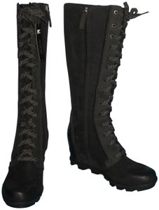52ee3567e6a Sorel Joan Of Arctic Wedge Ii Tall Suede Black Boots