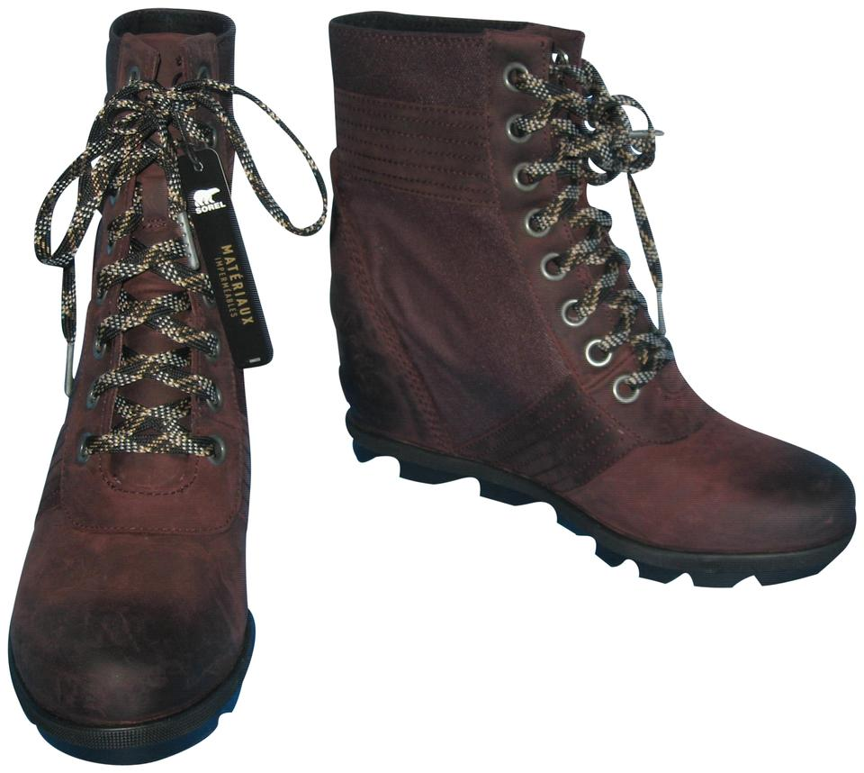 fefe1650965d Sorel Burgundy Women s Lexie Waterproof Suede Wedge Ankle Boots Booties