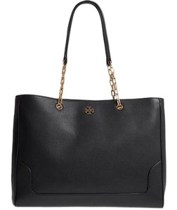 Tory Burch Leather Winter Work Fall Tote in BLACK