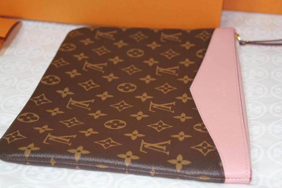 f3eb80b526a Louis Vuitton Box New Large Zip Rare Monogram Pink Coated Canvas and  Leather Clutch