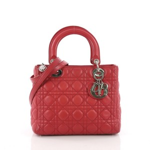Dior Christian Lady Cannage Tote in Red