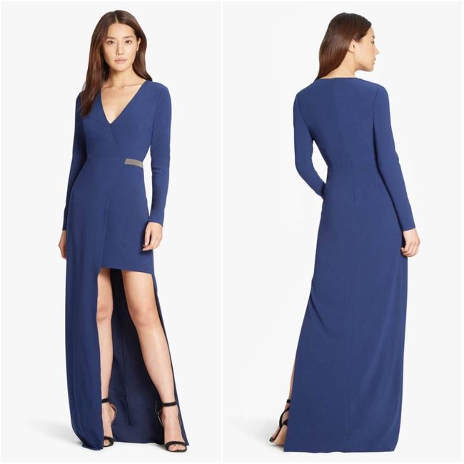 Item - Navy Chain Embellished Hi Lo Crepe Gown Long Night Out Dress Size 10 (M)