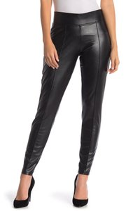Hue Pants Tights Leatherette Leather Patent Leather Black Leggings