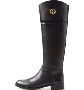 Tory Burch Equestrian Winter Leather Black Boots