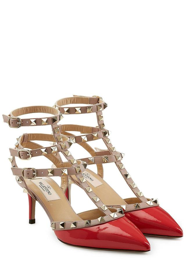 0882e22103 Valentino Red Classic Rockstud 65mm Patent Leather Kitten Heel Slingback  Caged Pumps